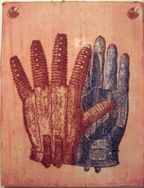 Glove, egg tempera on cut gesso on aluminium panel