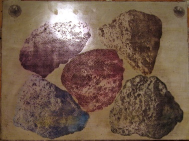 Rock Set, egg tempera on cut gesso on aluminium panel
